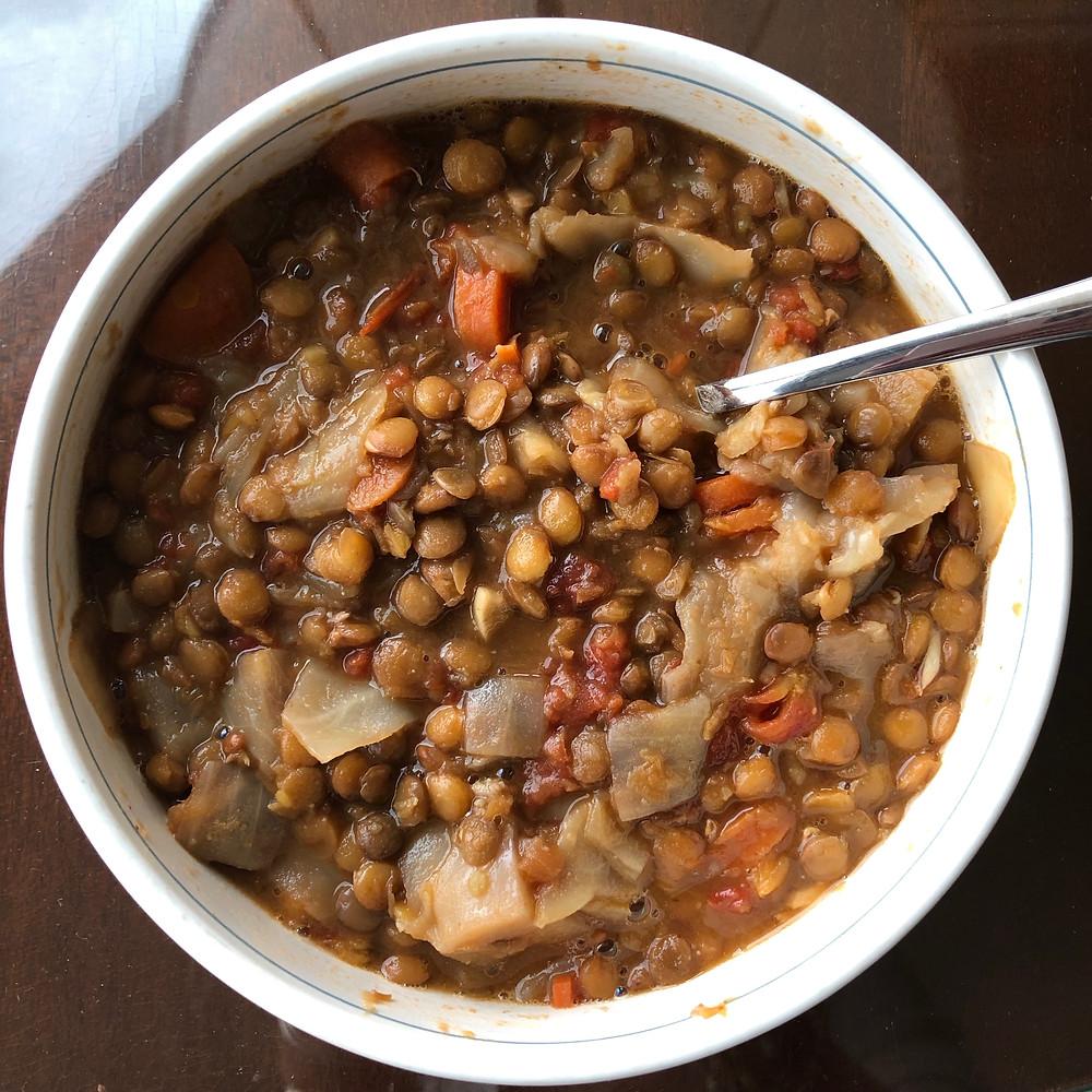 vegan lentil cabbage healthy soup