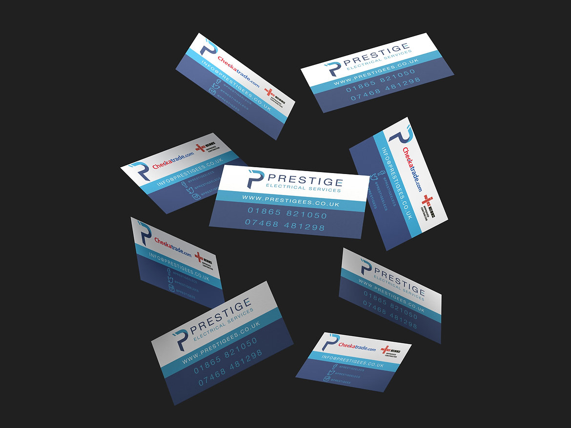 Prestige Electrical Services Business Cards, Print Design | Little Pixel Creative | Graphic Design Oxfordshire