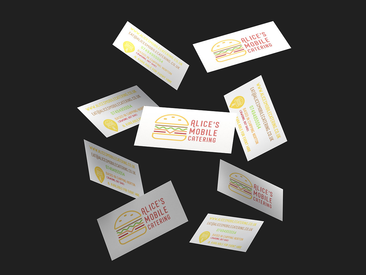 Alice's Mobile Catering Business Cards, Print Design | Little Pixel Creative | Graphic Design Oxfordshire
