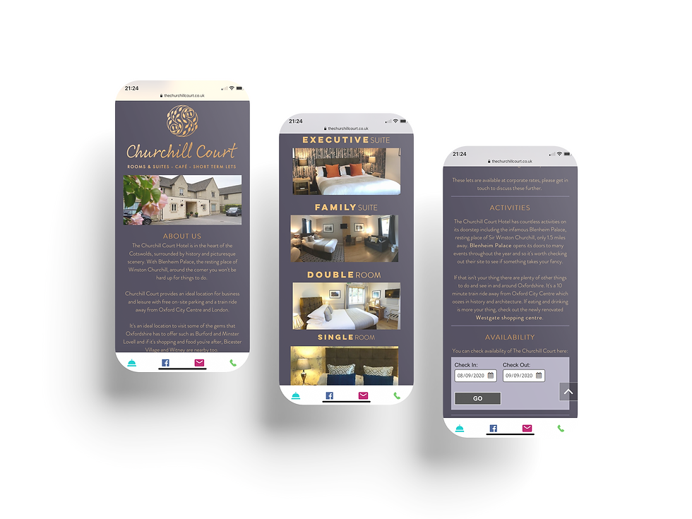 Churchill Court Hotel Mobile Web Design | Little Pixel Creative | Graphic Design Oxfordshire