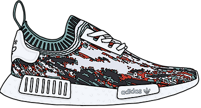 NMD Datamosh Sneaker, Illustration | Little Pixel Creative | Graphic Design Oxfordshire
