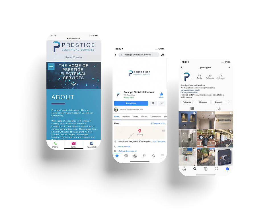 Prestige Electrical Services Mobile Web Design | Little Pixel Creative | Graphic Design Oxfordshire