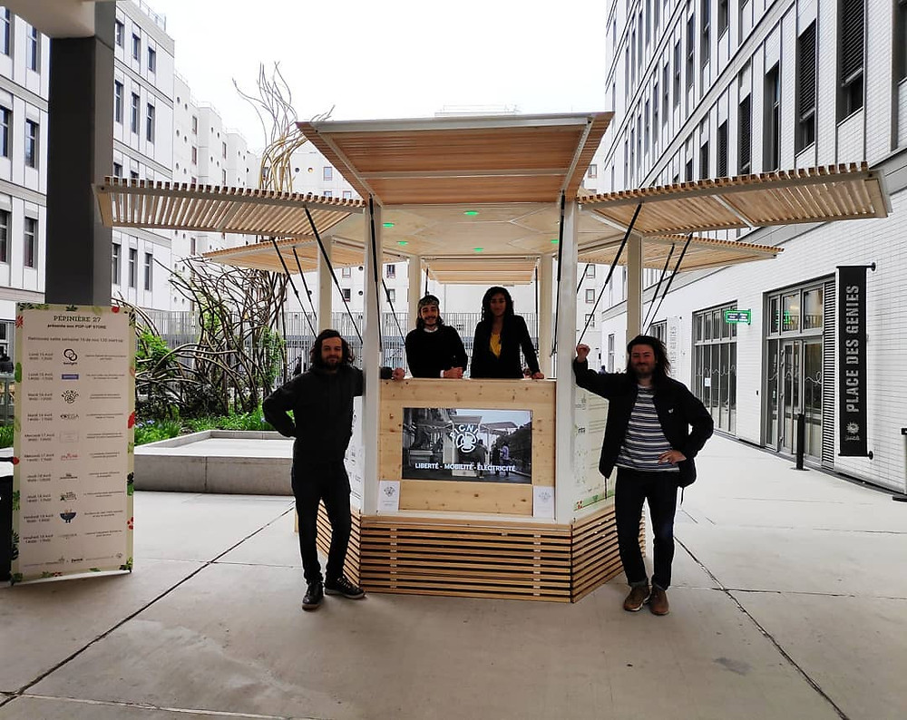 Le Kiosque Picnic Hexagone avec Nicolas et Maxime deux des 3 fondateurs de Picnic, ainsi que 2 entrepreneurs de la Pépinière 27.