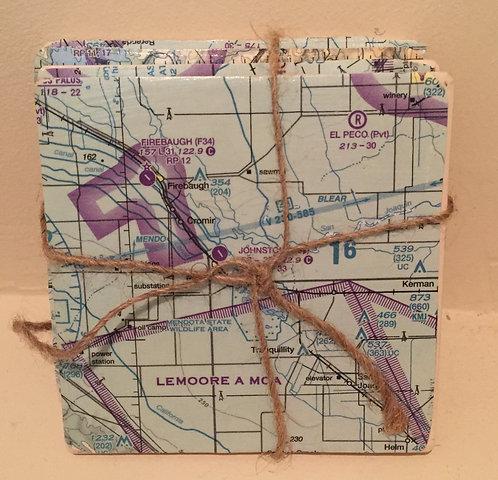 Aviation Chart Coasters