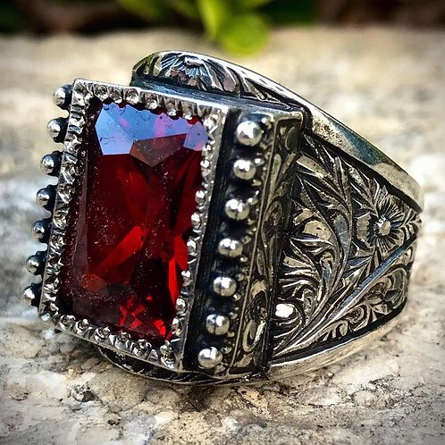 Red Stone Handcrafted Ring