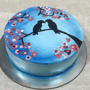 Painted Freshcream Cake - Birds