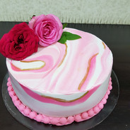 Pink marbled effect Cake