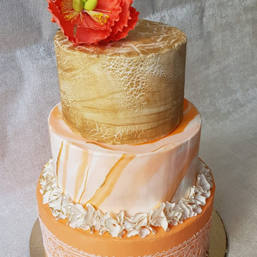 3 Tier Wedding Cake - Peach