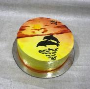 Painted Freshcream Cake - Dolphins