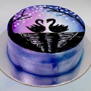 Painted Freshcream Cake - Swan