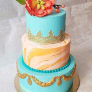 3 Tier Wedding Cake - Teal