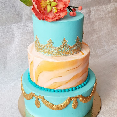 3 Tier Wedding Cake - Teal