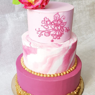 3 Tier Wedding Cake - Pink