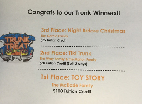 Congrats to our Trunk Winners and thank you again for all who participated!