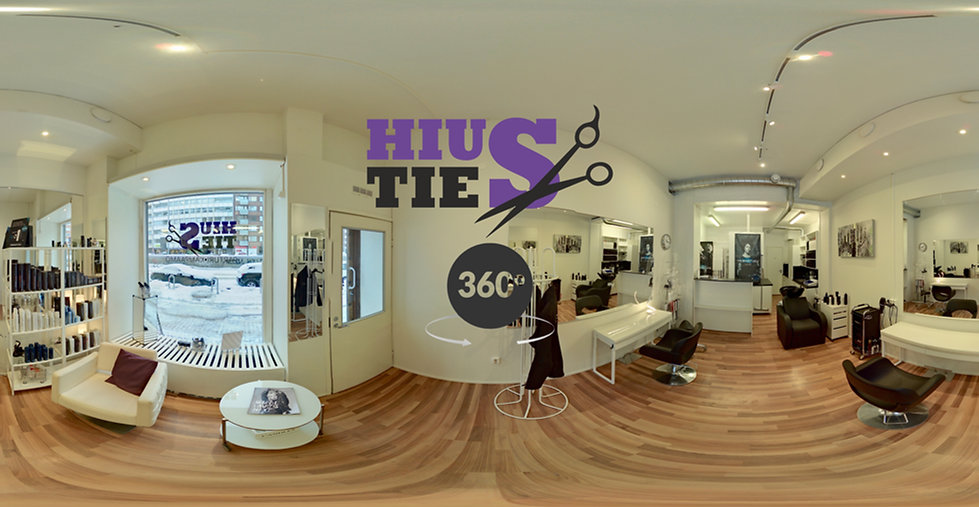 Parturi Kampaamo Hiustie 360 virtualtour virtuaaliesittely aloituskuva. Parturikampaamo, Parturikampaamo Hakaniemi