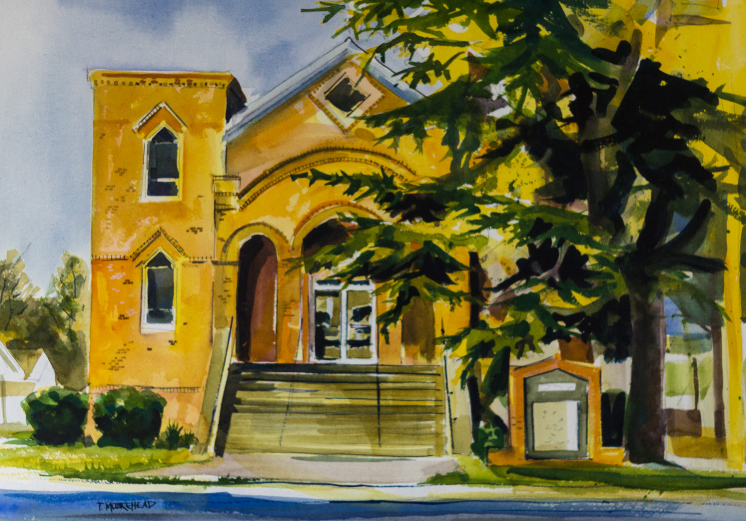 Mt. Canaan Baptist Church, by Tommy Moorehead, Watercolor on Paper, Puchased from the Artist