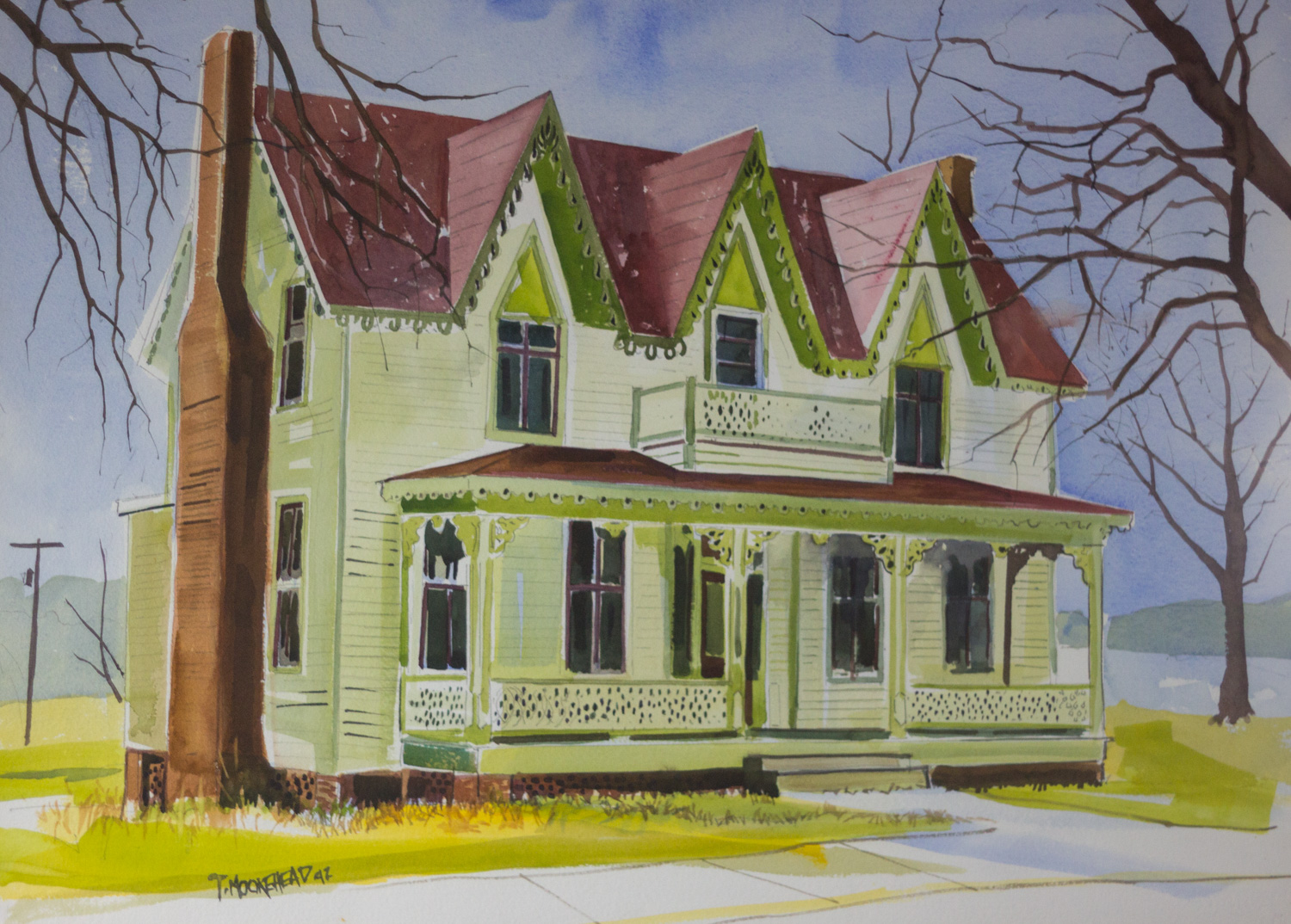 The Gables, by Tommy Moorehead, Watercolor on Paper