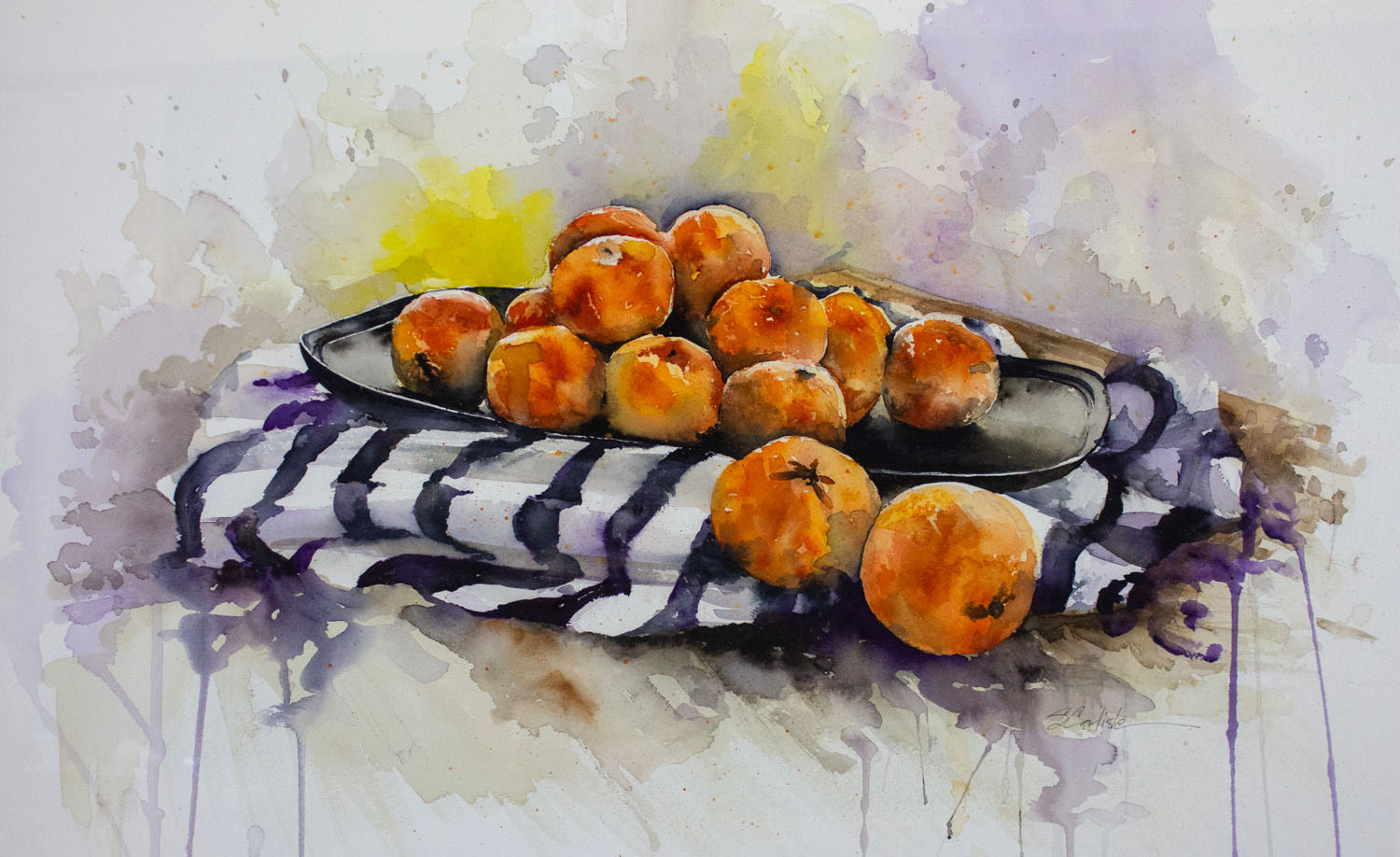 Orange Bounty by Sondra Carlisle, Watercolor, Donation, 2017
