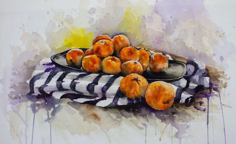 Orange Bounty by Sondra Carlisle, Watercolor, Donation, 2017