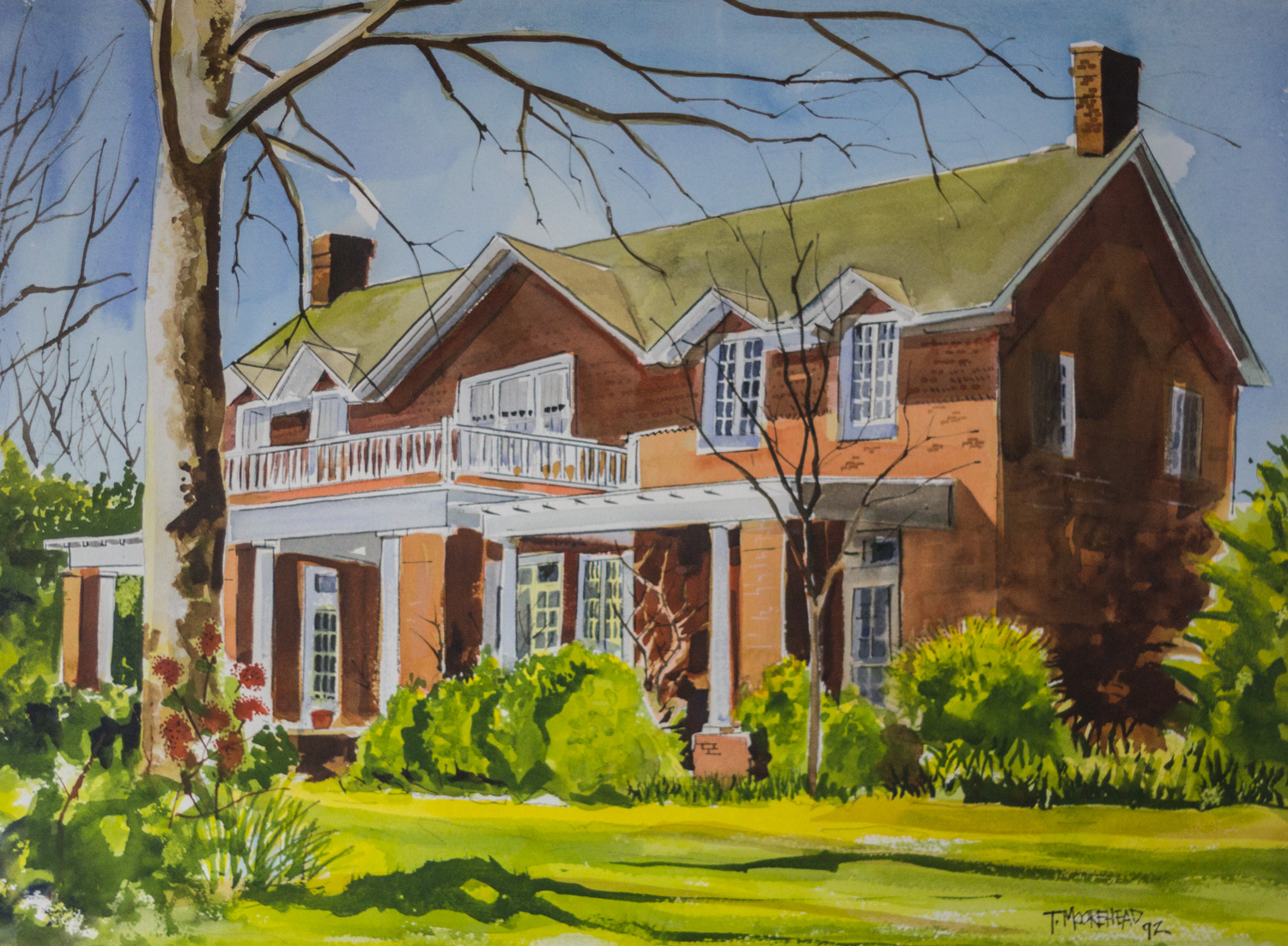 The Lucy Barnett House, by Tommy Moorehead, 1992, Watercolor on Paper, Purchased from the ARtist