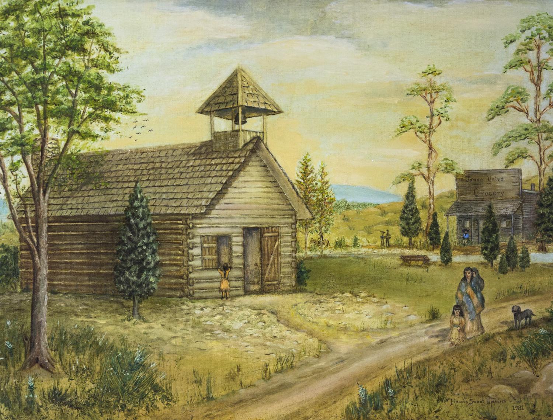 Talladega School House, built circa 1833, Frances Sweat Upchurch, 1981, Oil, 11 Paintings collection