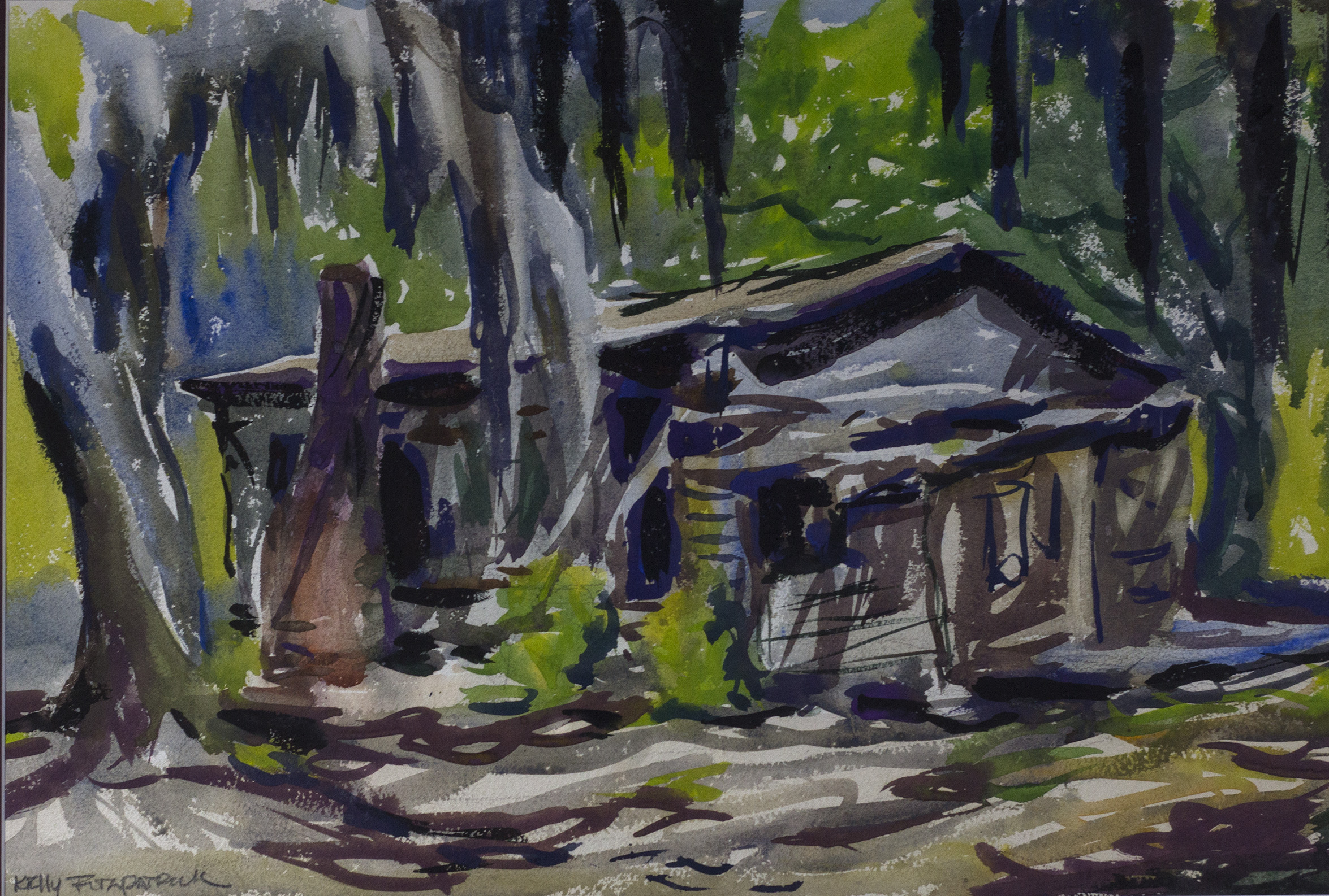 Cabin in the Woods, John Kelly Fitzpatrick, Watercolor, Donation
