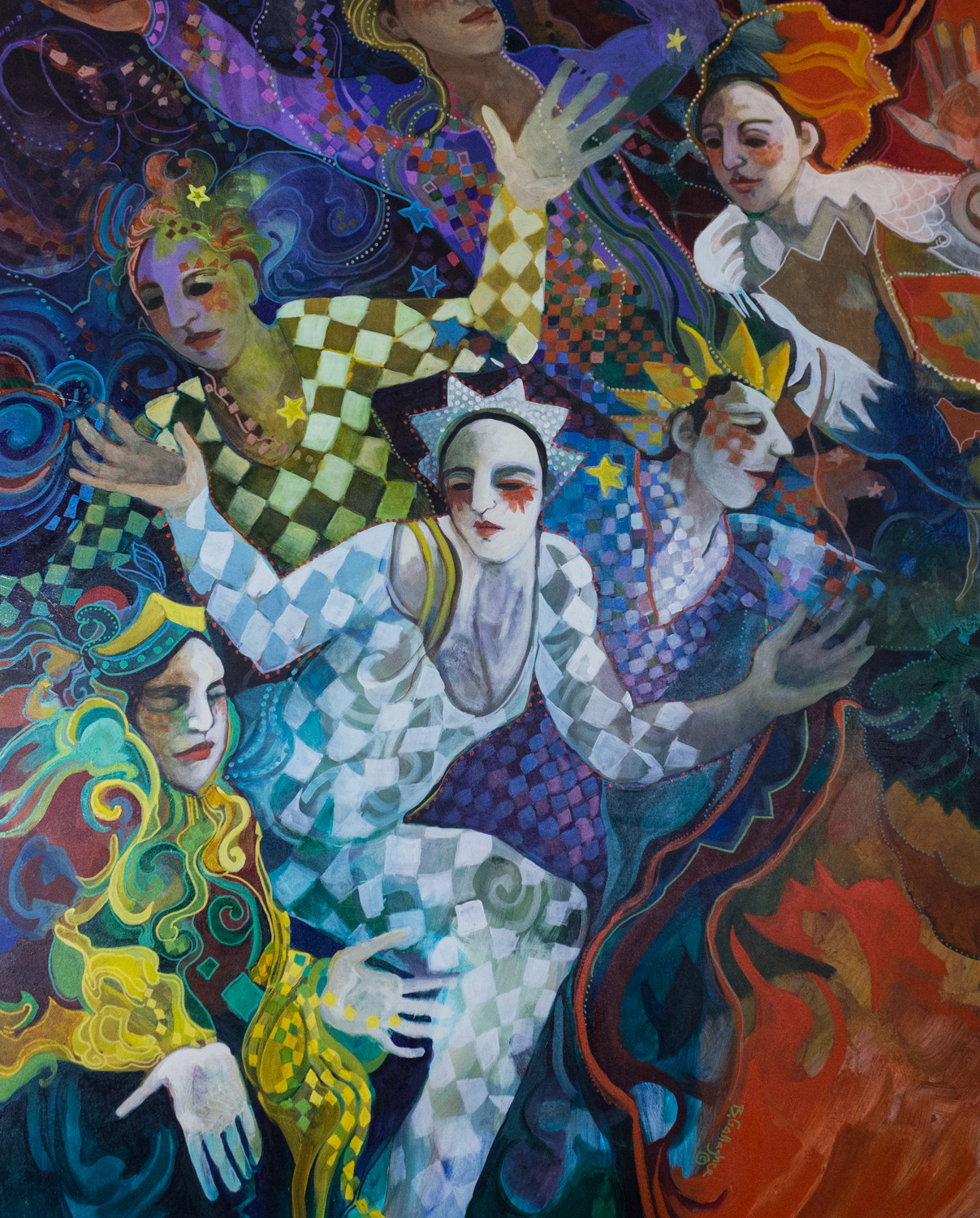 Jesters, by Barbara Grow Gallagher, Acrylic on Canvas
