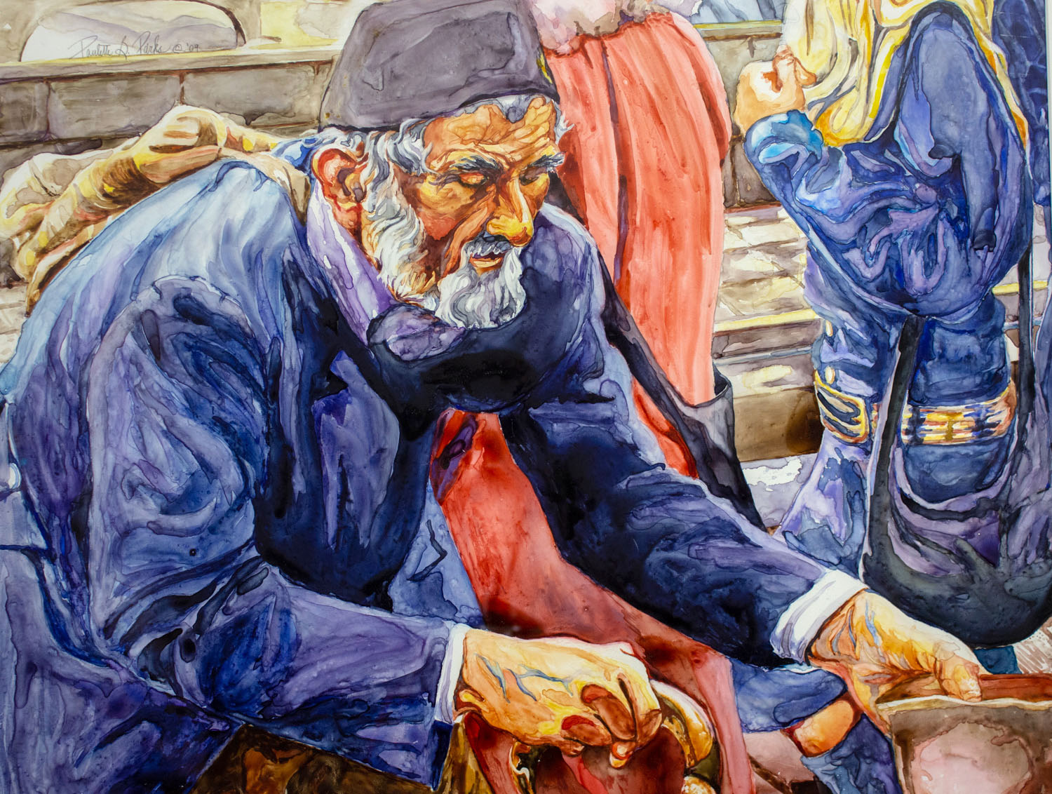 Beggar of Florence by Paulette B. Parks, Watercolor, 2009, Foundation Purchase