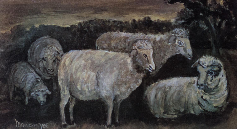 Good Little Sheep, Marian N. Yoe, Silk Screen Print of original watercolor