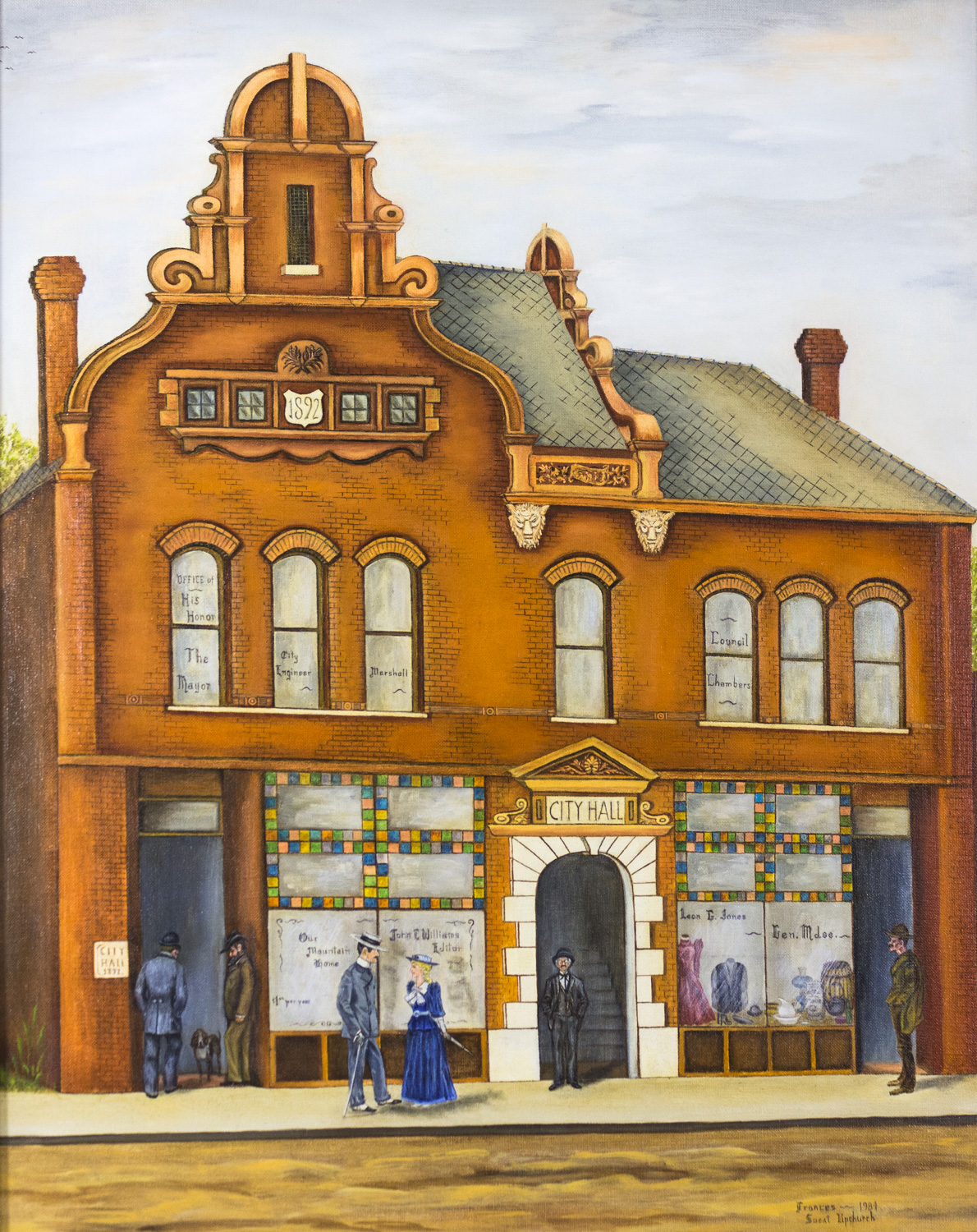 Talladega's First City Hall on West Battle St. by Frances Sweat Upchurch, 1984, Part of Collection o