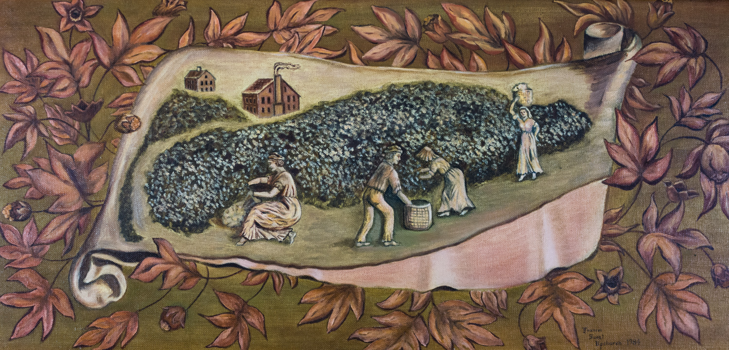 Terra Cotta Detail Panel Depicting a Cotton Plantation, Frances Sweat Upchurch, 1984, 11 Painting Co