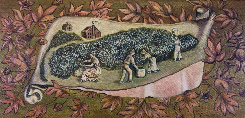 Terra Cotta Detail Panel Depicting a Cotton Plantation, Frances Sweat Upchurch, 1984, 11 Painting Co