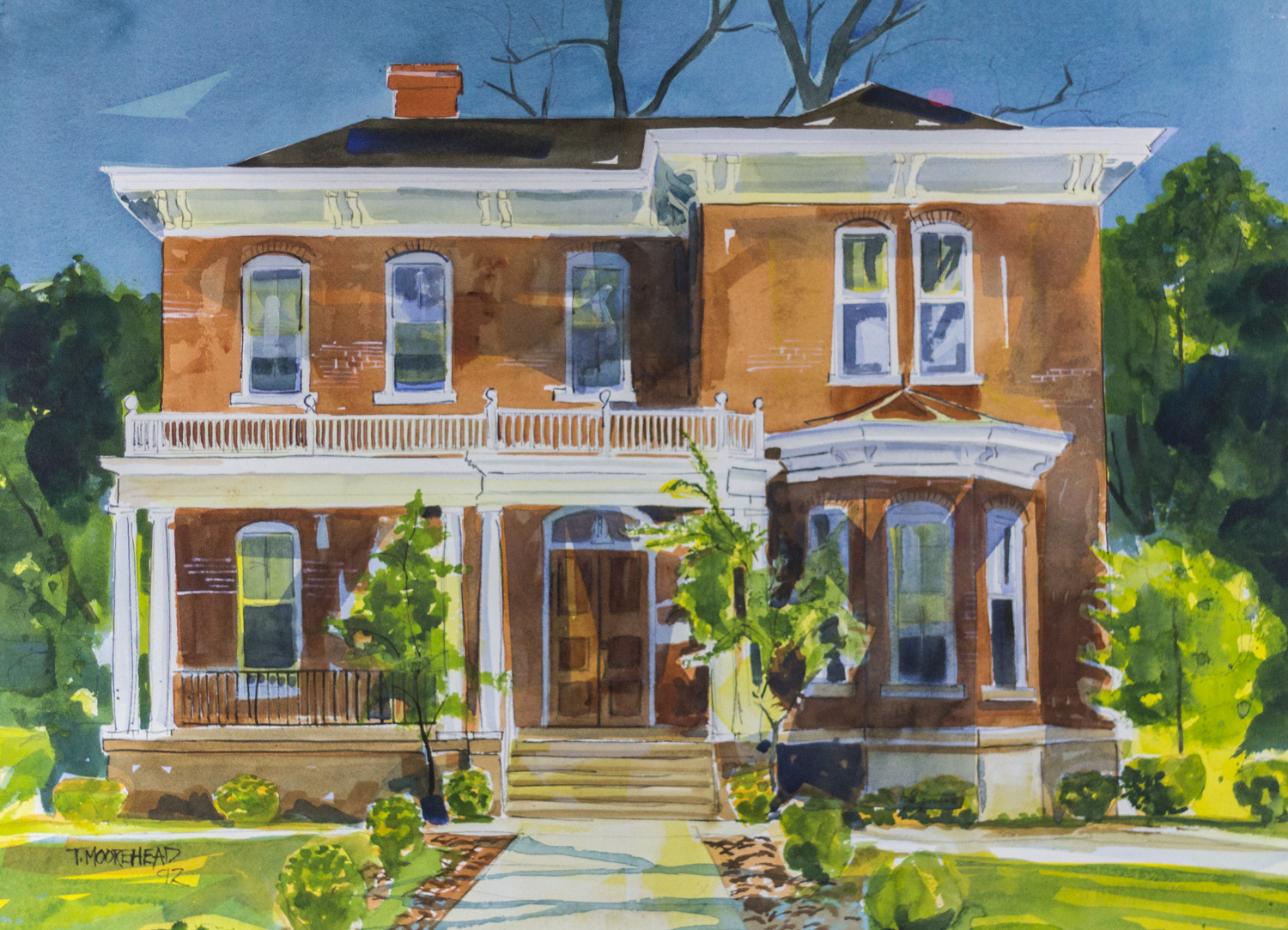 The President's Home by Tommy Moorehead, Watercolor on Paper