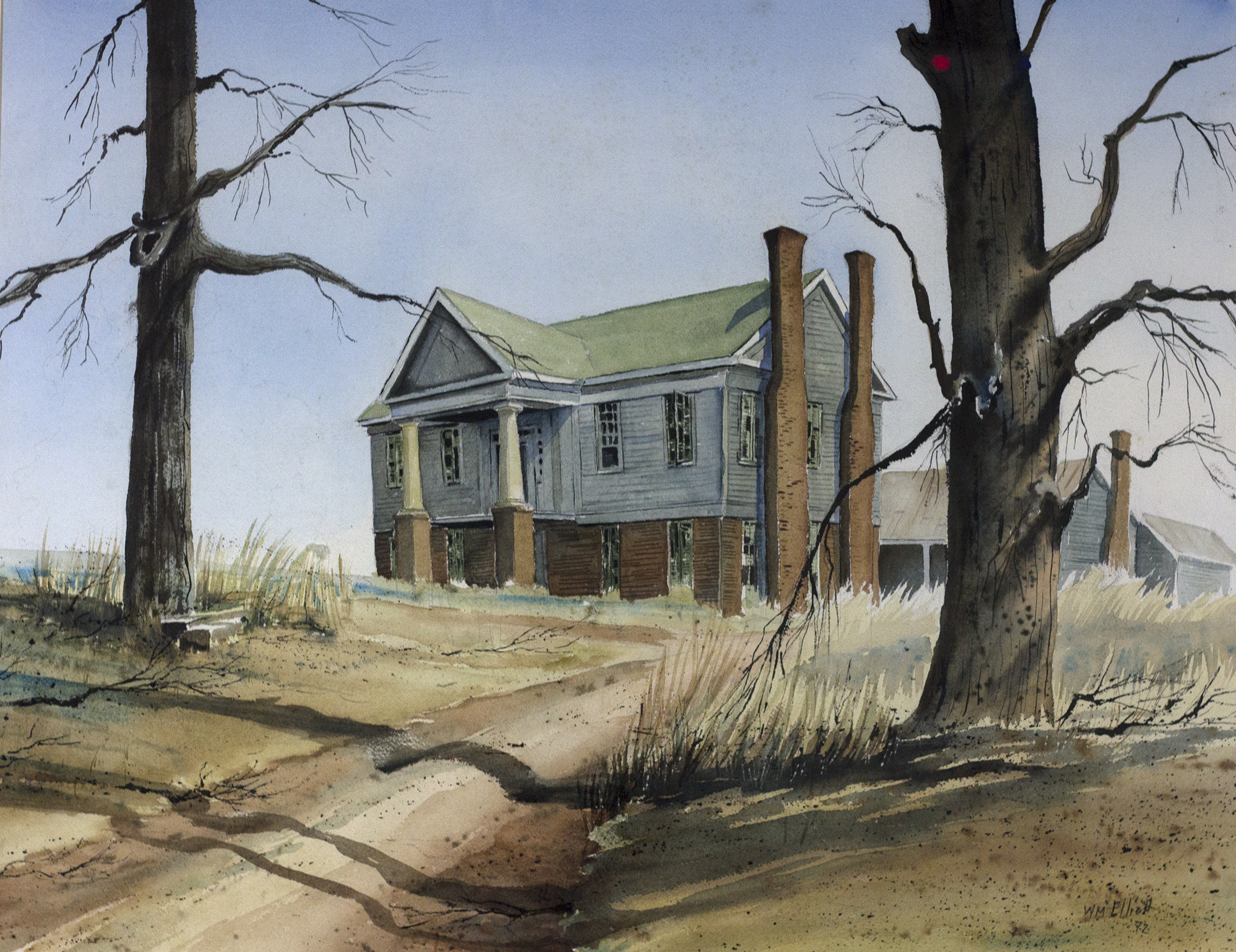 Wilmary Hitch Elliot, Watercolor House on Hill, 1972