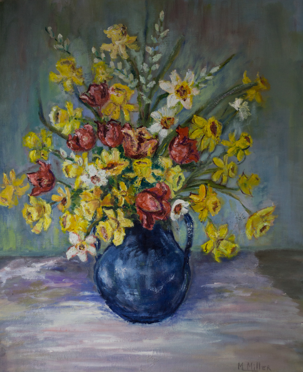 Floral Still Life, by Marianne Miller, Oil on Canvas, Donation
