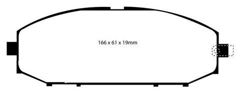 PLAQUETTES de FREIN AvantL: 166mm - Hauteur 61mm - Ep: 18mmMFP-2N11