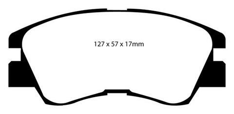 PLAQUETTES de FREIN AvantL: 128mm - Hauteur 57mm - Ep: 17mmMFP-2527