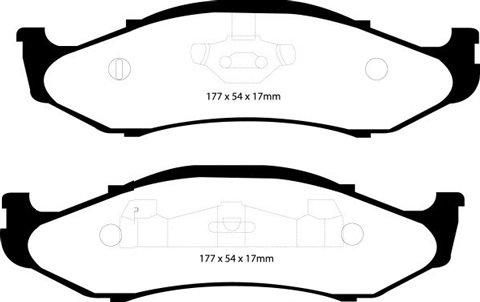 PLAQUETTES de FREIN AvantL: 177mm - Hauteur 54mm - Ep: 17mmMFP-2J03