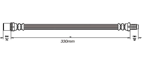 FLEXIBLE de FREINFemelle / Mâle - L: 360mm - ArrièreMBH-2246