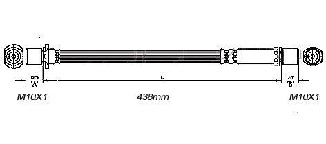 FLEXIBLE de FREIN Femelle / Femelle - L: 470mm - Avant MBH-2T06