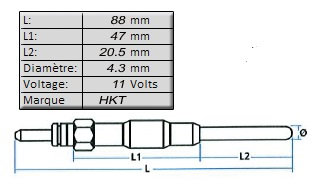 BOUGIE de PRECHAUFFAGE [HKT]11 volts - L: 88mm - Pour OE ME201632MGP-6593H