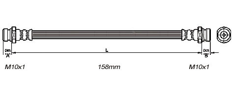 FLEXIBLE de FREINFemelle / Femelle - L: 190mm - AvantMBH-2M02