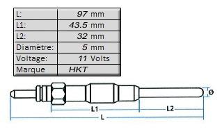 BOUGIE de PRECHAUFFAGE [HKT]11 volts - L: 97mmMGP-6211H