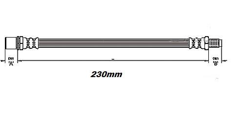 FLEXIBLE de FREINAvant - Du pont au tambour - L: 230mmMBH-2T41