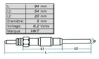 BOUGIE de PRECHAUFFAGE [HKT]6,2 volts - L: 94mm - Pour OE MD092392MGP-6501H