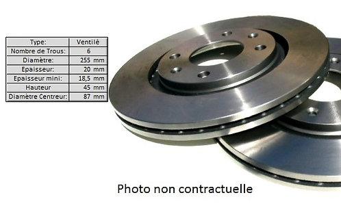 DISQUE de FREIN Avant (la paire)Ventilé - Ø 254mm -EP 20mmMFD-2M00