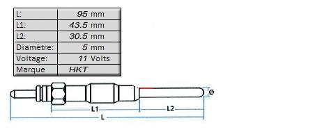 BOUGIE de PRECHAUFFAGE [HKT]11 volts - L: 95mmMGP-6215H