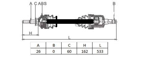 CARDAN D/G CompletExt: 26 cannelures - L: 533mm - Sans bague ABSMDS-5T00
