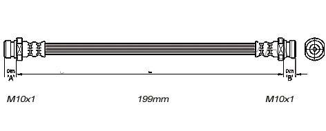 FLEXIBLE de FREINFemelle / Femelle - L: 215mm - AvantMBH-2M04