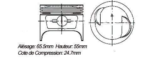 PISTONS (Les 4 avec axes et clips, sans les segments)Ø 65,5mm  H: 55mmJKI-800
